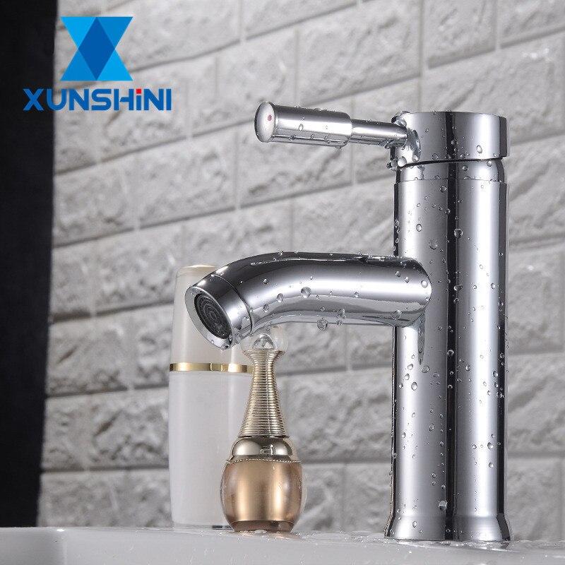 XUNSHINI Basin Faucet Bathroom Taps Bathroom Sink Faucet Single Handle Hole Deck Wash Hot Cold Mixer Tap Crane